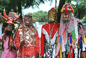 "Junkanoo - Junkanoo (or ""John Canoe"") celebrants (Kingston, Jamaica, Christmas 1975)"