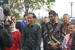 National costume of Indonesia - The batik shirt for men is often considered as an Indonesian national costume, as worn here by Indonesian President Joko Widodo (left) and Google CEO Sundar Pichai.