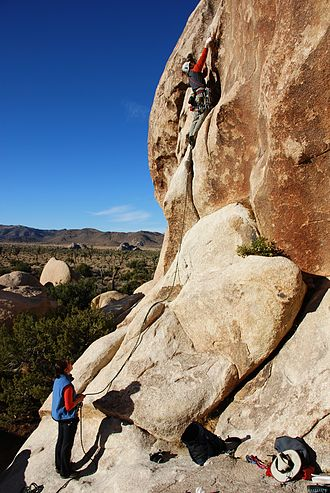 Belaying - Leader and belayer climbing in Joshua Tree National Park