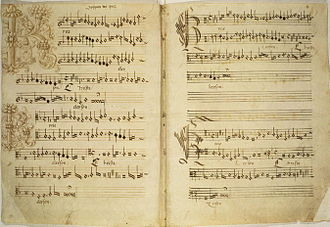 Liturgical book - The Kyrie from an early 16th-century manuscript of Missa de Beata Virgine (Biblioteca Apostolica Vaticana, MS Cappella Sistina 45, folios 1v–2r.).