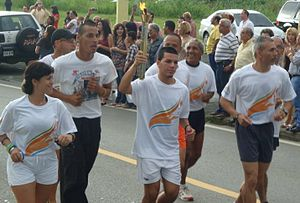 2010 Central American and Caribbean Games - Torch going across Añasco