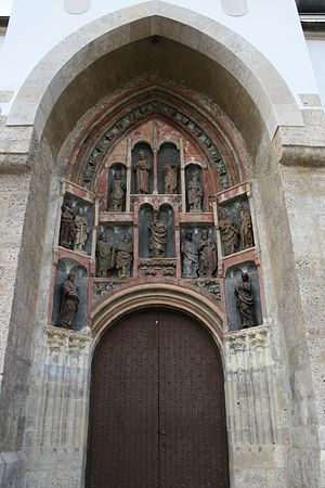 St. Mark's Church, Zagreb - Original Gothic sculptures at the southern portal.