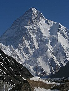 A photograph of the snow-covered mountain K2