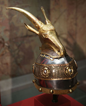 Coat of arms of Albania - The helmet of Skanderbeg.