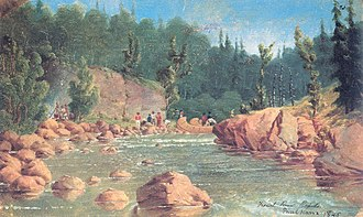 Quetico Provincial Park - French River Rapids, field sketch by Paul Kane, 1845.