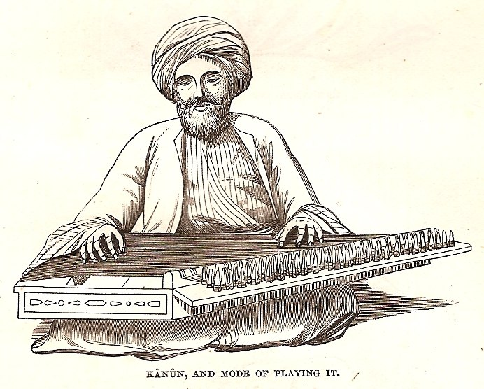Kanun, and mode of playing it, p. 577 in Thomson, 1859