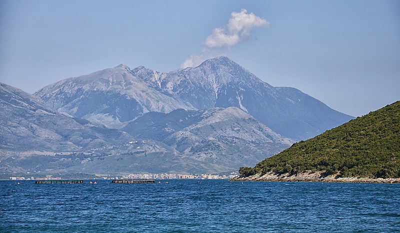 Orikum viewed from the Vlorë Bay with the Lungara Mountains and Maja e Qores in the background