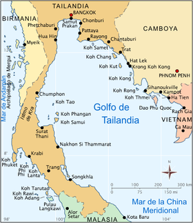 Islas De Tailandia Mapa.Golfo De Tailandia Wikipedia La Enciclopedia Libre