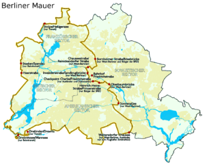 Placement of Berlin Wall and the border of Wes...