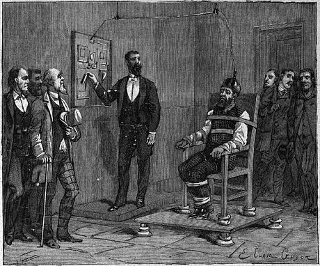 William Kemmler became the first person put to death by an electric chair, August 6, 1890 Kemmler execute par l'electricite.jpg