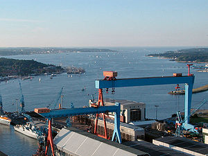 Bay of Kiel - Kiel Fjord, Bay and shipyard crane