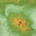 Kirishima Volcano & Kakuto Caldera Relief Map, SRTM-1.jpg