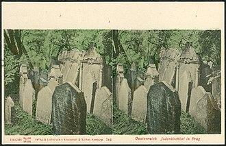 Old Jewish Cemetery, Prague - Image: Knackstedt & Näther Stereoskopie 0782 Oesterreich, Judenkirchhof in Prag,Bildseite koloriert Jewish cemetery Prague Josefov