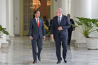 Scott Morrison - Morrison with President Joko Widodo of Indonesia on his first overseas visit as prime minister.
