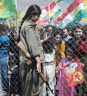 Kurdish–Turkish conflict (1978–present) - Kurdish PKK guerilla at the Newroz celebration in Qandil, 23 March 2014