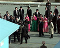 Ladies from North Korea wearing traditional hanbok leave Panmungak to present gifts to South Korean business tycoon Chung Ju-yung 981027-F-XT789-527.jpg