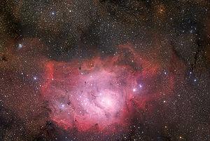 An amazing vista of the Lagoon Nebula taken wi...