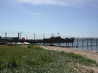 RM Poole - Landing craft moored alongside pontoons at RM Poole