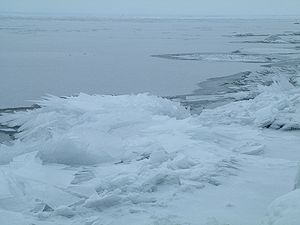 Lake Superior in winter, as seen from Duluth, ...