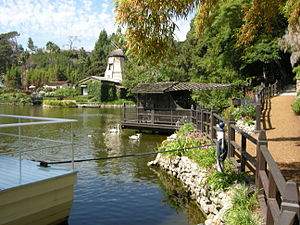 Self-Realization Fellowship Lake Shrine - Looking toward the Dutch windmill from houseboat