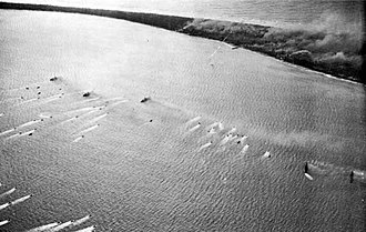 Battle of Eniwetok - Landing craft heading for Eniwetok Island on 19 February 1944