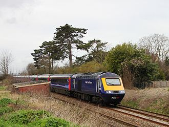 Langport - Langport East railway station site with a British Rail Class 43 (HST) heading east on the Reading to Taunton Line.