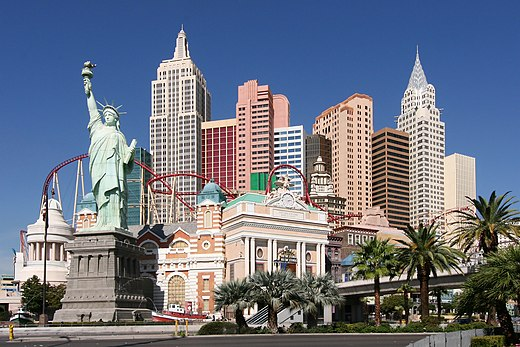 A replica of the Statue of Liberty forms part of the exterior decor at the New York-New York Hotel and Casino on the Las Vegas Strip Las Vegas NY NY Hotel.jpg