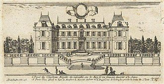 Palace of Versailles - The garden facade of the chateau of Louis XIII in 1660-64. (Engraving by Israël Silvestre)