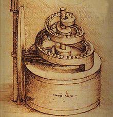 Disegno di un dispositivo a molla nel Codice Madrid