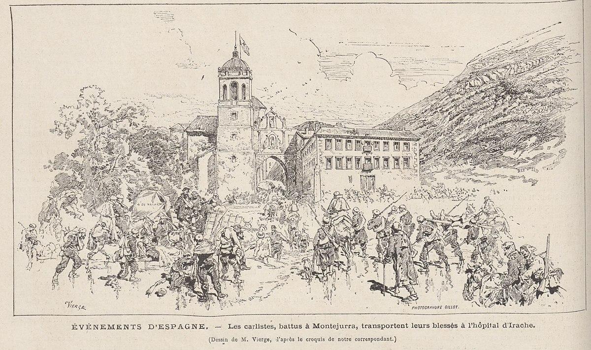 Les carlistes, battus à Montejurra, transportent leurs blessés à l'hôpital d'Irache, de Vierge.jpg