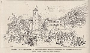 Navarre - Carlists in retreat to the Irache monastery during the Third Carlist War