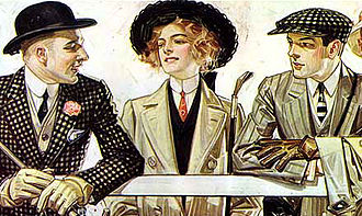 1900s in Western fashion - Young women adopted the tall, stiff collars and narrow neckties worn by men.  Advertisement for Arrow shirt collars, 1907.