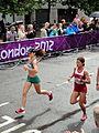 Linda Byrne (Ireland) Bahar Dogan (Turkey) - London 2012 Women's Marathon.jpg