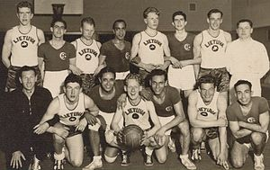 Egypt national basketball team - Egyptians posing with EuroBasket 1937 champions Lithuanians.
