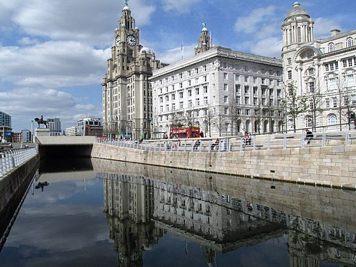 Liver Building on Liverpool Waterfront and Canal