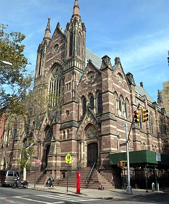 Packer Collegiate Institute - The James Renwick-designed former St. Ann's Church, now part of the school, has stained glass by Henry E. Sharp