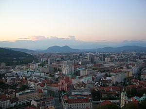 View of Ljubljana's skyline at sunset from the...