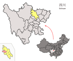 Location of Beichuan County (red) within Mianyang City (yellow) and Sichuan
