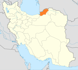 Map of Iran with Golestān highlighted