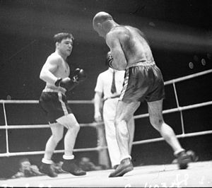 Lou Brouillard - Brouillard (left) during his third bout with Marcel Thil