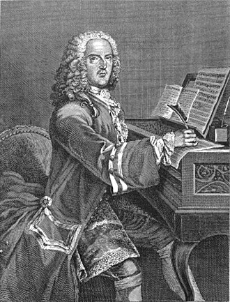 Composer - French composer Louis-Nicolas Clérambault composing at the keyboard