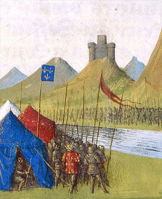 "Louis X of France - Louis campaigning in Flanders, where he sought a military solution to the ongoing problem of the ""immensely wealthy"", quasi-autonomous province of France. Painting circa 15th century."