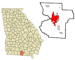 Lowndes County Georgia Incorporated and Unincorporated areas Valdosta Highlighted.svg