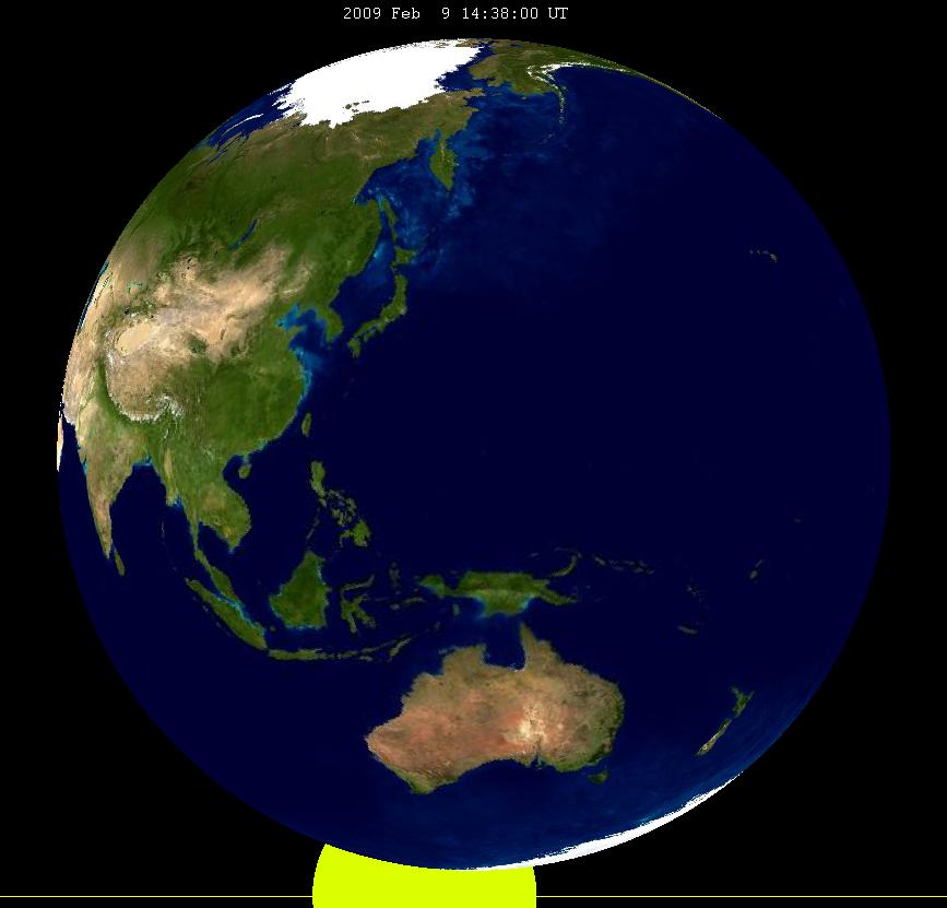 Lunar eclipse from moon-2009Feb09