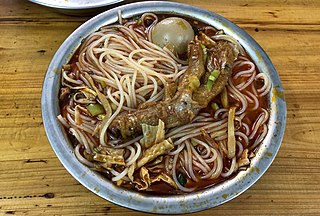 Luosifen Chinese rice noodle dish originated from Liuzhou, Guangxi