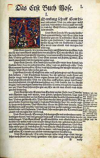 Early New High German - The opening page of the Book of Genesis in Martin Luther's Bible translation of 1534, published by Hans Luft