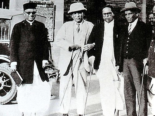 M.R. Jayakar, Tej Bahadur Sapru and Ambedkar at Yerwada jail, in Poona, on 24 September 1932, the day the Poona Pact was signed