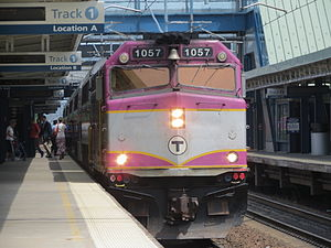 MBTA Commuter Rail - MBTA train at Route 128 Station on the Providence/Stoughton Line.