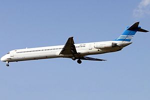 Khors Air - A Khors Air McDonnell Douglas MD-82 approaches Mehrabad International Airport in 2010.