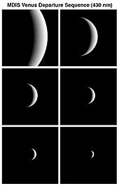 a sequence of six black and white images showing a Venus crescent gradually increasing in size as it nears